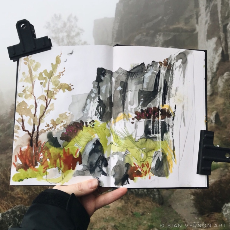 Sketching Curbar Edge, Derbyshire - Peak District art