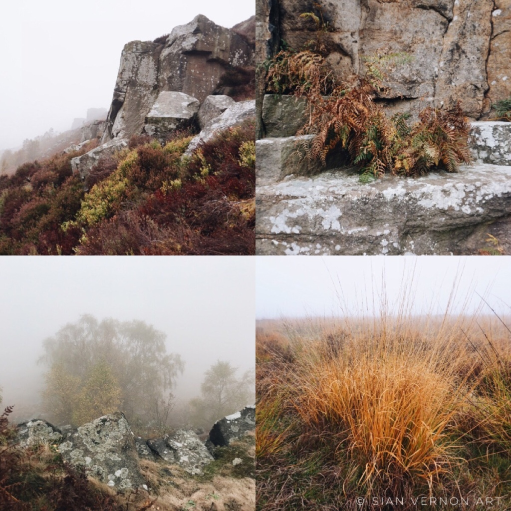 Colour photos of foggy Curbar Edge, Derbyshire - Peak District