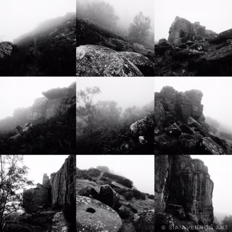 Moody black and white photos of  Curbar Edge in the fog, Derbyshire - Peak District