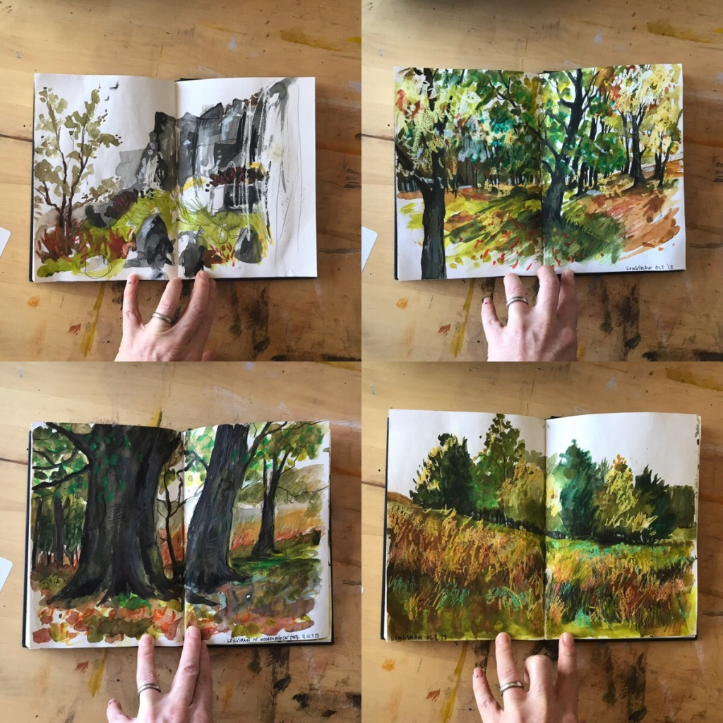 Four Peak District sketches (Longshaw and Curbar Edge) from inside the sketchbook of Sheffield artist Sian Vernon
