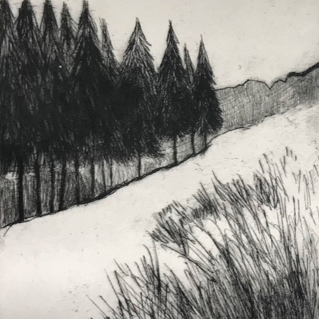 Peak District landscape art, Drypoint print by Sian Vernon