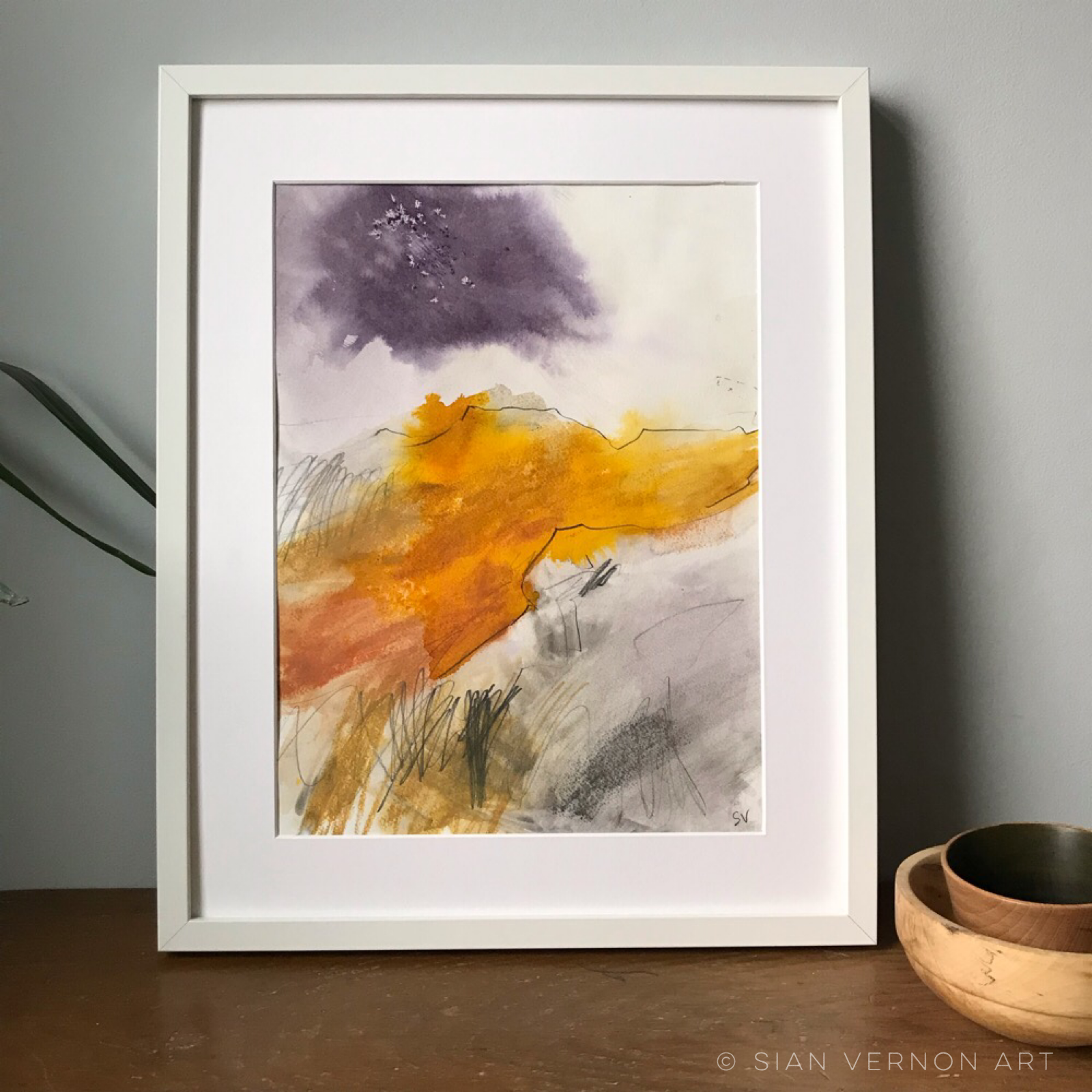 Higger Tor from Upper Burbage, original Peak District art for sale (shown framed)