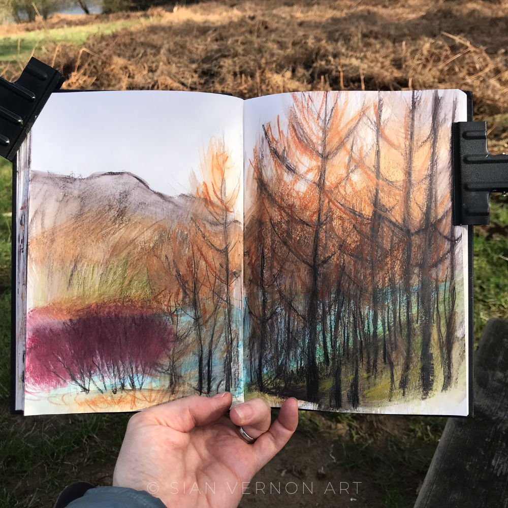 Ladybower Peak District sketchbook page by local artist Sian Vernon