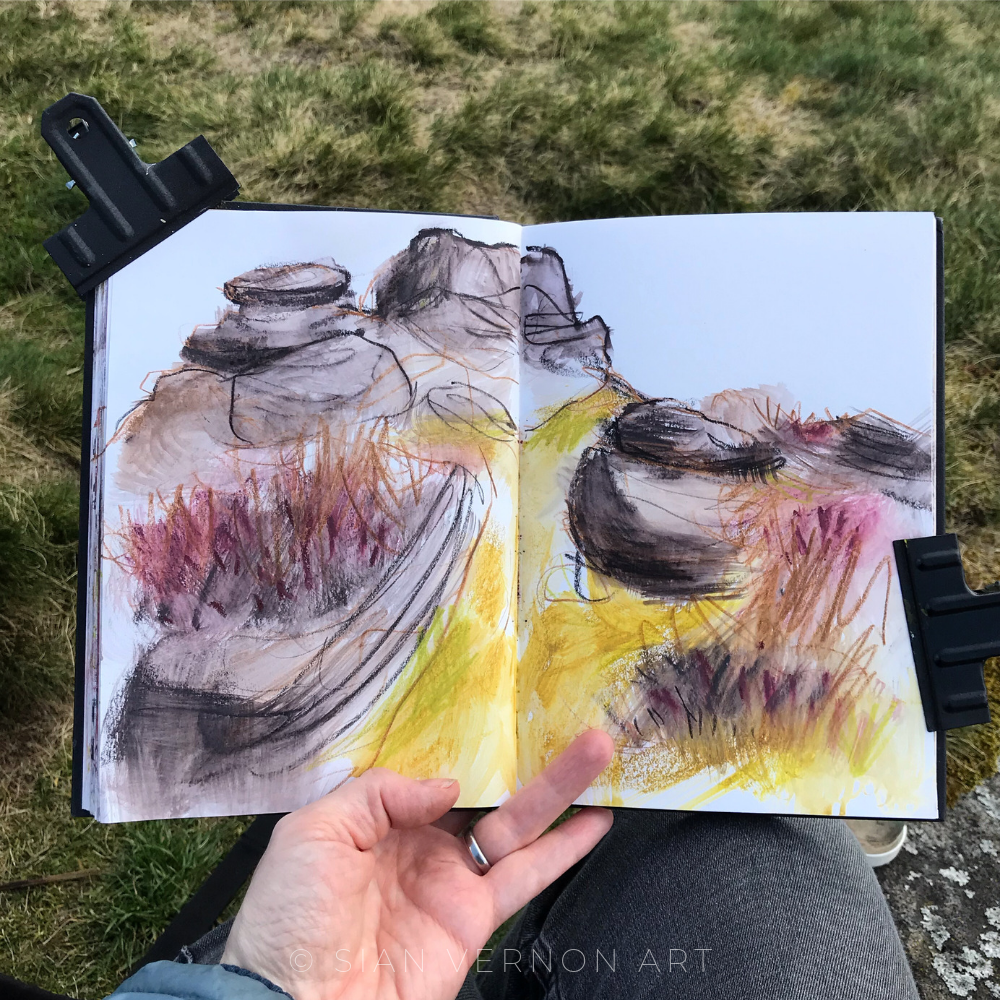 Sketching at Froggatt Edge Peak District, local Sheffield artist Sian Vernon