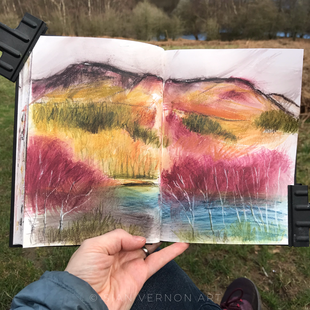 Ladybower Peak District sketchbook page by Sheffield artist Sian Vernon