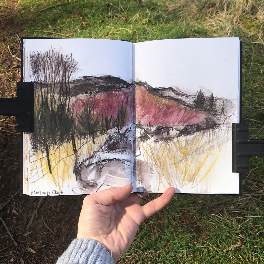 Sketch of Bamford Edge from Win Hill