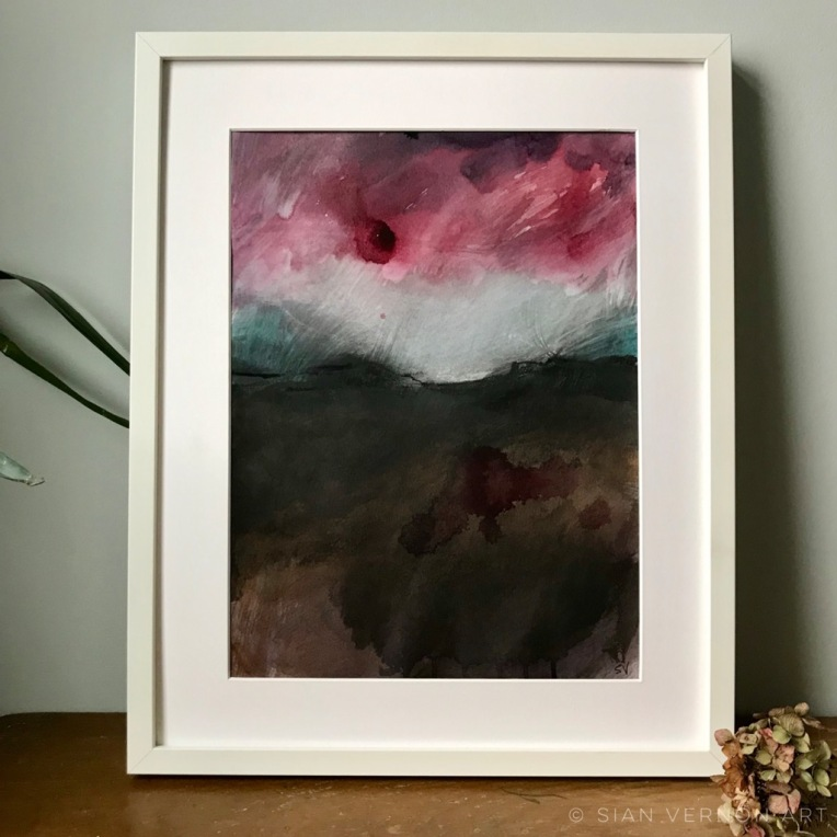 Dark Peak rain storm, original Peak District landscape painting for sale.